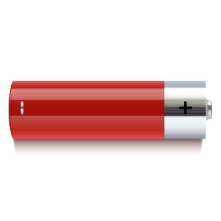 cadmium: Realistic red battery icon  Vector illustration