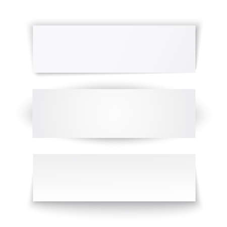 Set of three paper banners  Vector illustration