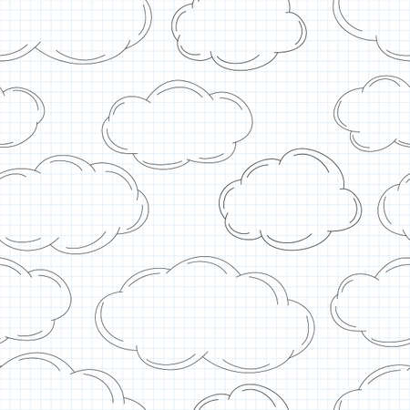 Hand drawn clouds on squared paper  Vector illustration Vector