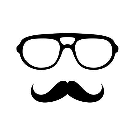 superacion personal: Gafas con ilustraci�n vectorial bigote Vectores