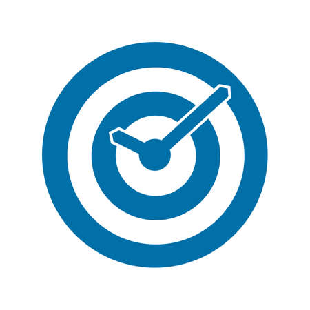 Blue target conceptual clock icon  Vector illustration Vector
