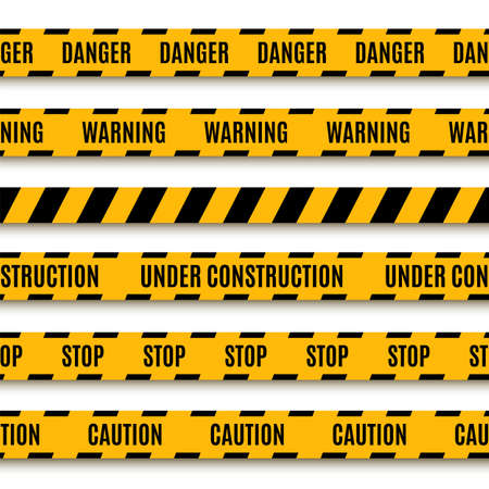 Set of yellow warning tapes  Vector illustration Illustration
