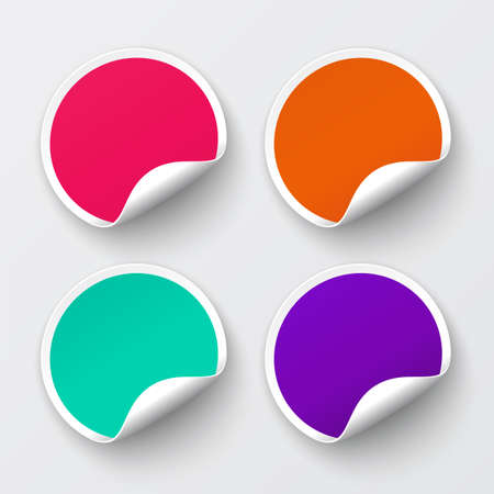Set of blank stickers  Promotional labels  Vector illustration Illustration