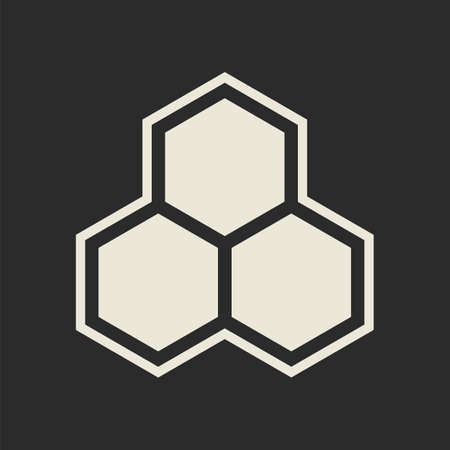 Hexagon icon on dark background  Vector illustration Vector