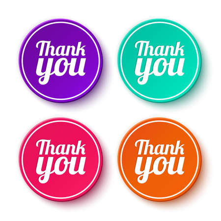 Set of thank you stickers, labels Vector illustration Vector