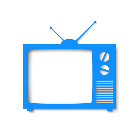 retro tv: Blue paper banner in form of tv  Vector illustration for your design or business presentations Illustration
