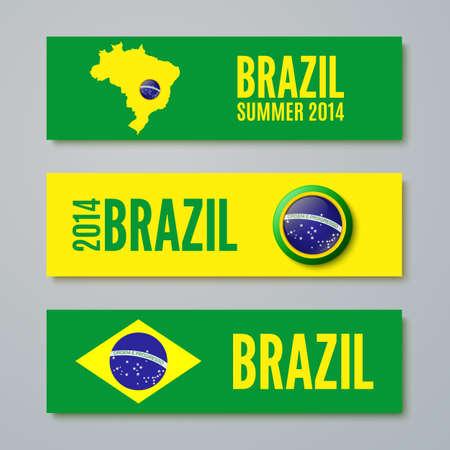 brasil: Set of Brazil concept color banners  Vector illustration