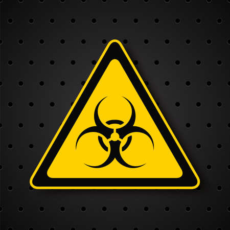 biological warfare: Biohazard symbol on dark background