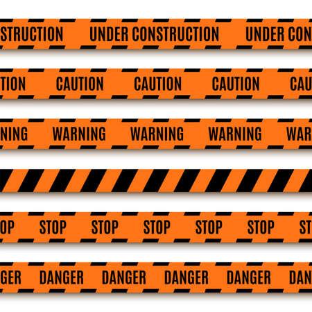 csi: Set of orange warning tapes