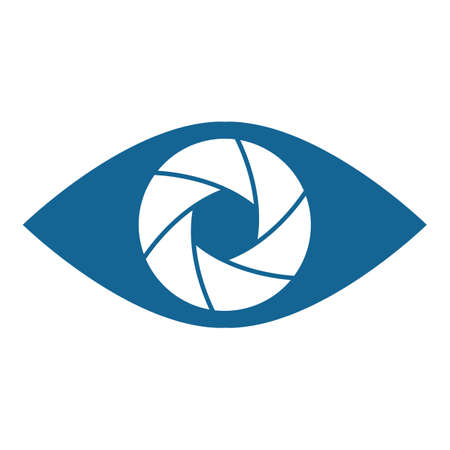 abstract aperture: Shutter eye conceptual flat abstract icon illustration
