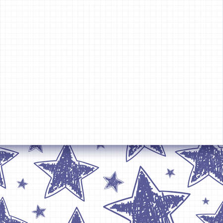 Abstract background with hand drawn stars on squared paper Vector
