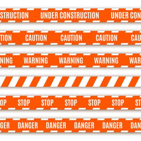 csi: Conjunto de cintas de advertencia aislados en el fondo blanco
