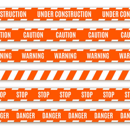 barrier tape: Set of warning tapes isolated on white background Illustration