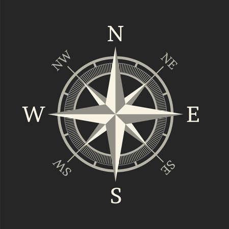 latitude: Compass icon isolated on dark background  Illustration