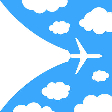 Abstract background with airplane and clouds  illustration Vector