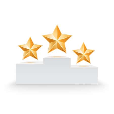 silver star: Pedestal with three stars illustration Illustration