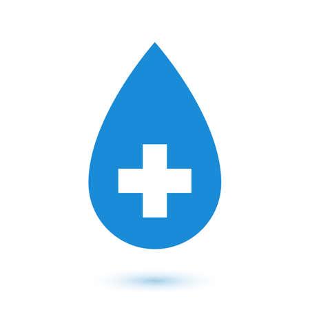 Abstract flat blue drop, medical symbol illustration