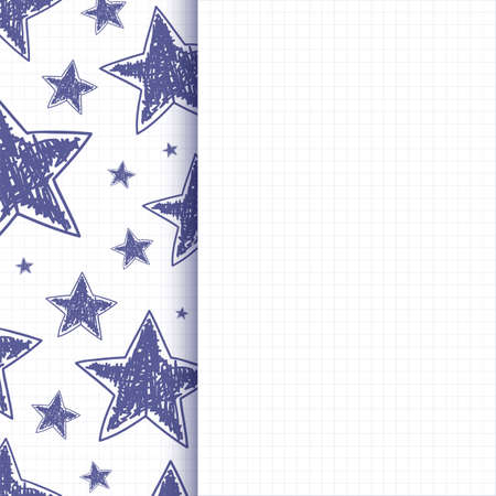 Abstract background with hand drawn stars on squared paper illustration Vector