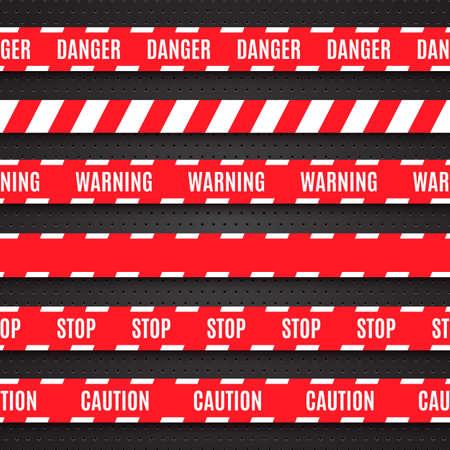 csi: Set of red warning tapes on dark background illustration Illustration