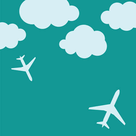 Abstract background with airplanes and clouds  illustration Vector
