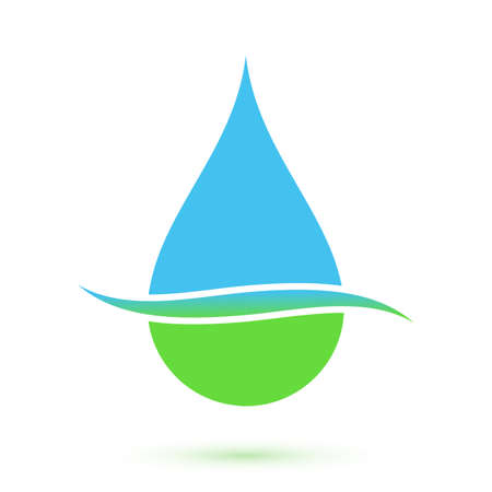 Blue and green drop symbol, conceptual icon  illustration Vector