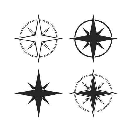 Compass icons isolated on white background illustration Vector