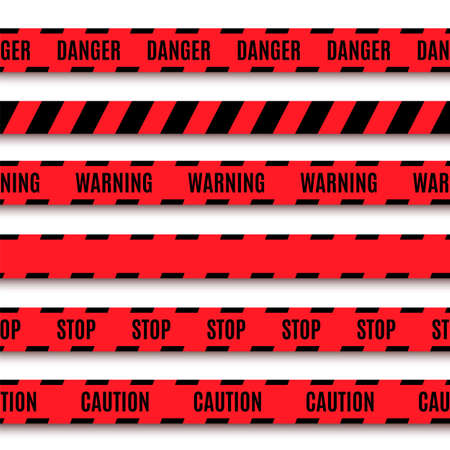 abstract danger: Set of warning tapes  Vector illustration