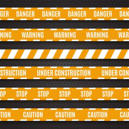 csi: Conjunto de cintas de advertencia de color amarillo sobre fondo oscuro Vectores
