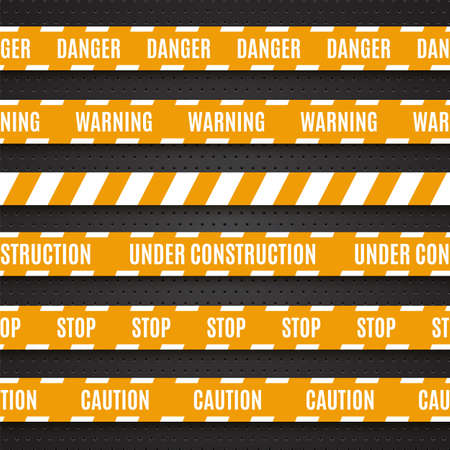 csi: Set of yellow warning tapes on dark background