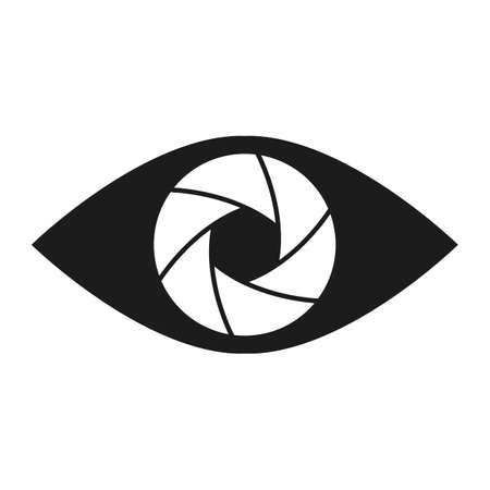 Shutter eye conceptual flat abstract icon illustration Vector