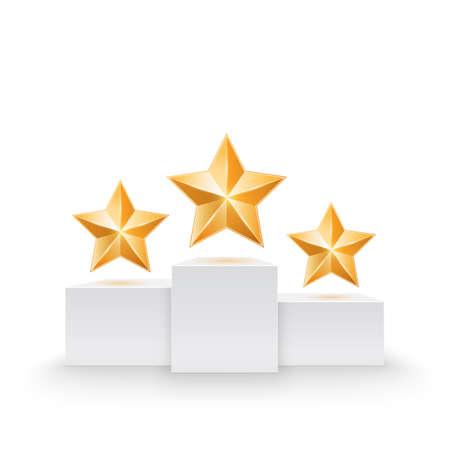 primer lugar: Pedestal con la ilustraci�n de tres estrellas Vector Vectores