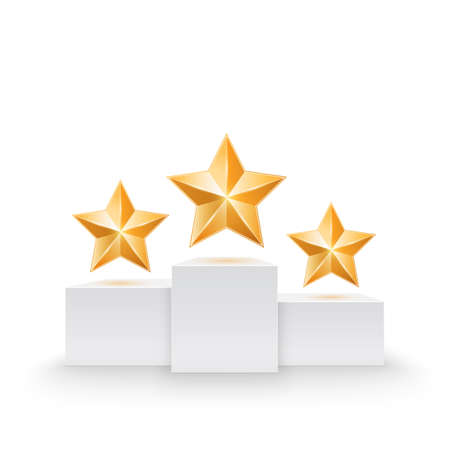 first place: Pedestal with three stars  Vector illustration