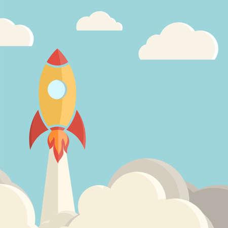 clouds cartoon: Fondo de lanzamiento de cohetes Ilustraci�n vectorial