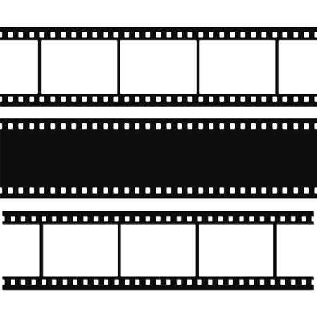 rollo pelicula: Tira en blanco de película simple conjunto Ilustración vectorial