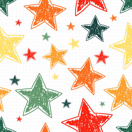 purple stars: Hand drawn stars seamless pattern