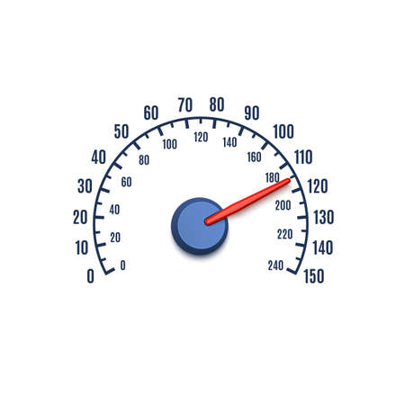 kilometer: Speedometer icon isolated on white background Illustration