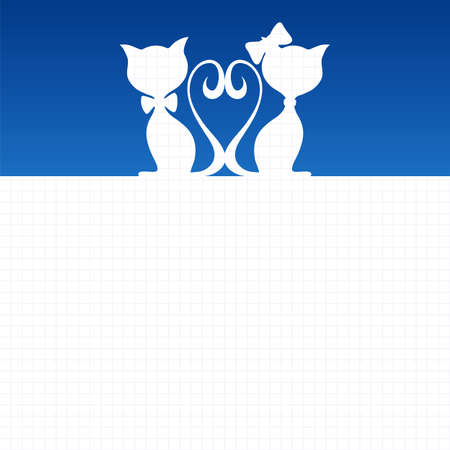 Abstract background with two cats
