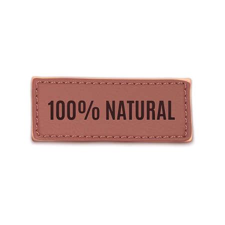 Old, vintage leather label. Natural. Vector illustration  Vector