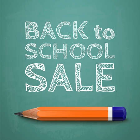 Back to school sale poster, with text on chalkboard and pencil  Vector illustration Vector