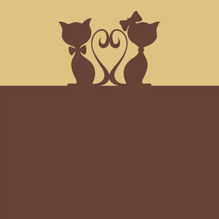 Abstract background with two cats  Vector illustration Vector