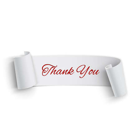 Realistic detailed thank you curved paper banner  Ribbon  Vector illustration