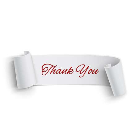 Realistische gedetailleerde bedankt gebogen papier banner lint Vector illustratie Stock Illustratie