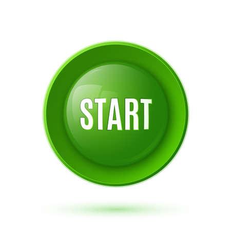Green glossy start button icon  Vector illustration Illustration