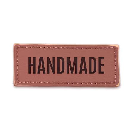 leather label: Handmade, vintage leather label  Badge  Vector illustration