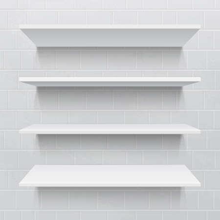 Four white realistic shelves against brick wall  Vector illustration Vector