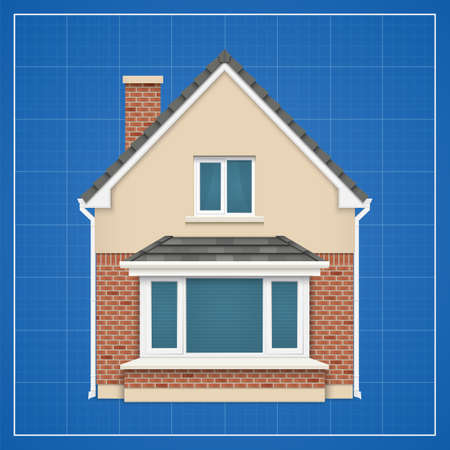 family in front of house: Architecture background with detailed house on a blueprint  Vector illustration Illustration