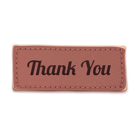 Old, vintage leather thank you label  Badge  Vector illustration Vector