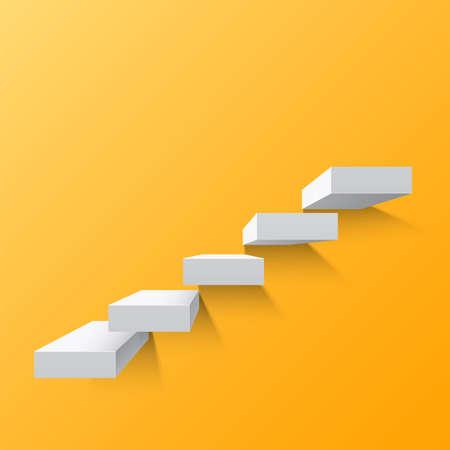 Yellow abstract background with white stairs . Steps. Vector illustration Vektoros illusztráció