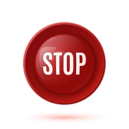 Red glossy stop button icon.  Vector