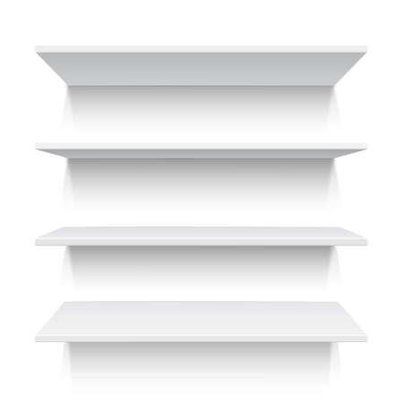 Four white realistic shelves isolated o white  Vector